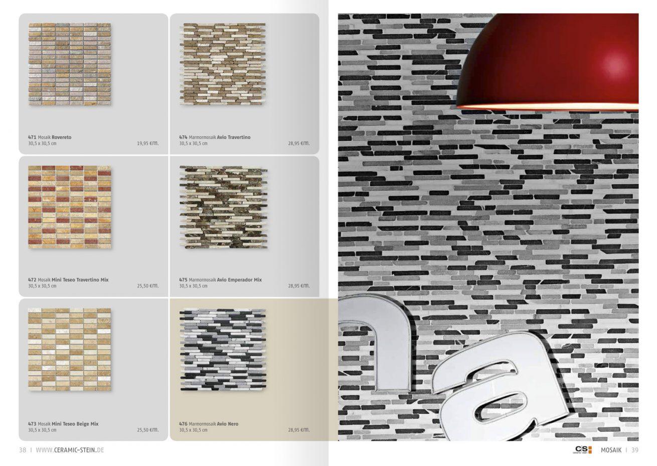 Ceramic + Stein Katalog Wand mit Mosaik